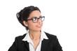Gesicht einer indische Frau isoliert im business look mit Brille