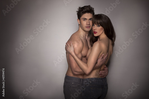 Passionate sexy topless couple
