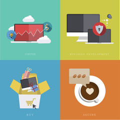 Vector flat modern icons on sample background
