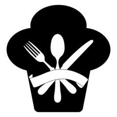 Chef, fork, spoon and knife icon