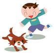 犬と戯れる子ども