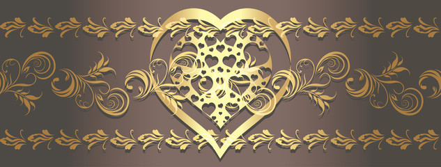 Ornamental golden border with shining heart