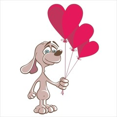 Dog - Doggy in love, three red balloons heart - valentine