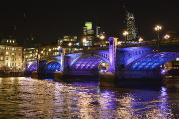 Southwark Bridge at night. London. England