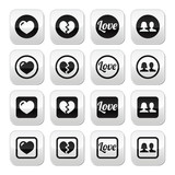Love, heart, couple buttons for Valentine's day