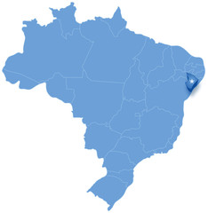 Map of Brazil where Sergipe is pulled out