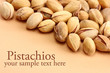tasty pistachio nuts, on beige background