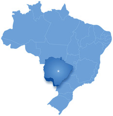 Map of Brazil where Mato Grosso do Sul is pulled out
