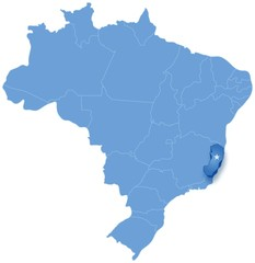 Map of Brazil where Espirito Santo is pulled out