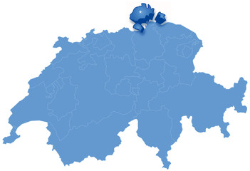 Map of Switzerland where Schaffhausen is pulled out