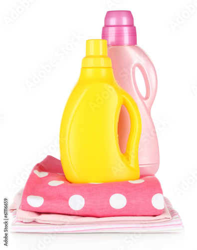 Softener dryers on children clothes isolated on white