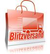 3D-Einkaufstasche BLITZVERSAND, rot/weiß