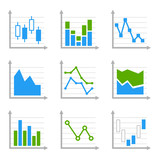 Business Infographic Colorful Charts and Diagrams.Blue ang Green