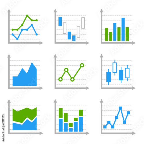 Business Infographic Colorful Charts and Diagrams. Blue ang
