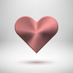 Pink Abstract Heart Sign with Metal Texture