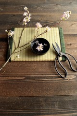 Cherry blossoms with scissors  on Japanese tatami mat