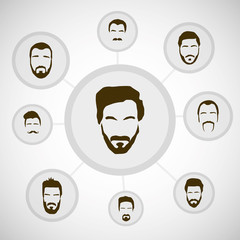 Beard styles, vector infographics