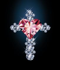 Diamond cross and ruby heart, vector illustration