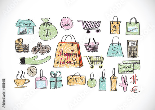 Shopping bag icons set
