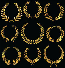 Golden laurel wreath, set