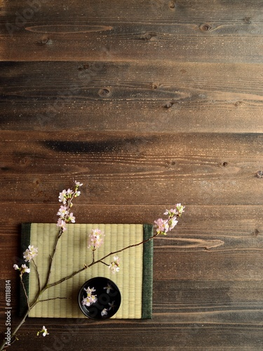 Cherry blossoms on Japanese tatami mat