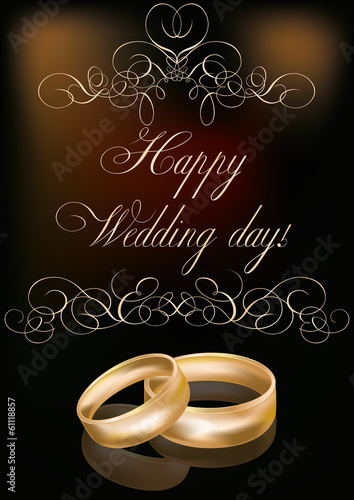 Happy Wedding day card, vector illustration