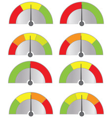 collection of speedometers button isolated on white (vector)