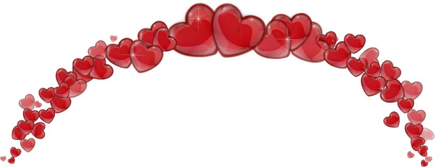Frame of red hearts on a white background