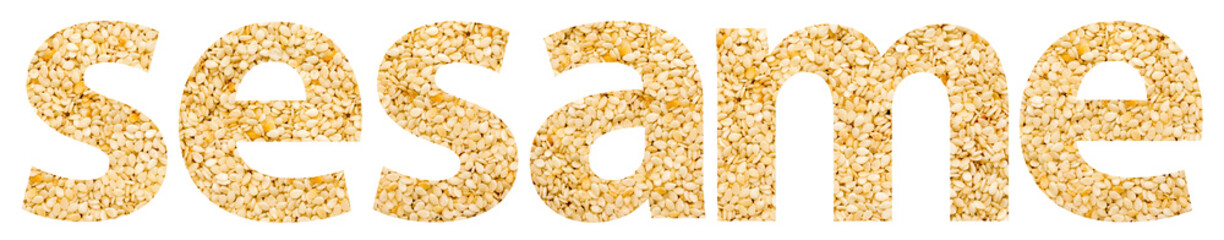 Sesame Word Abstract Isolated Made Of Sesame Seeds