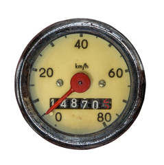 Isolated Vintage Speedometer