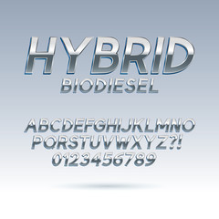 Silver Hybrid Font and Numbers, Eps 10 Vector, Editable for any