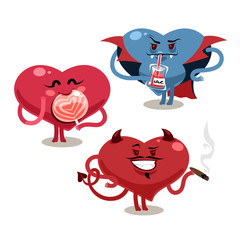 Funny Valentine's hearts with demon