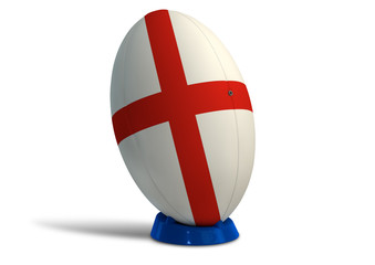 England Rugby Ball On A Kicking Tee