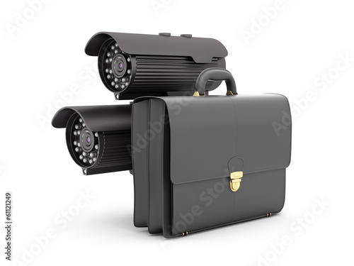 Two security cameras and business briefcase on white background