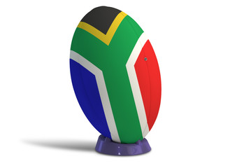 South African Rugby Ball On A Kicking Tee