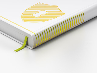 Protection concept: closed book, Shield With Keyhole on white