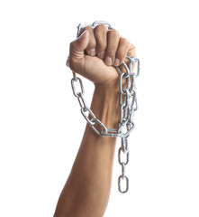 hand hold hard shiny metal chain isolated on white background