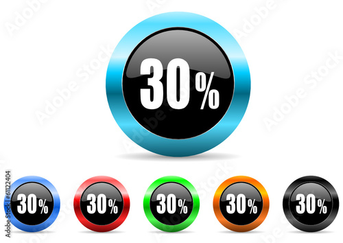 30 percent icon vector set