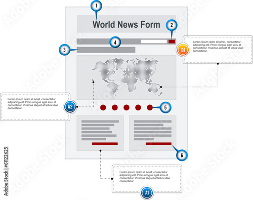 World News Internet Web Page Wireframe Structure Prototype  with
