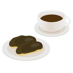 エクレアとコーヒー