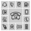 vector black phone icons set