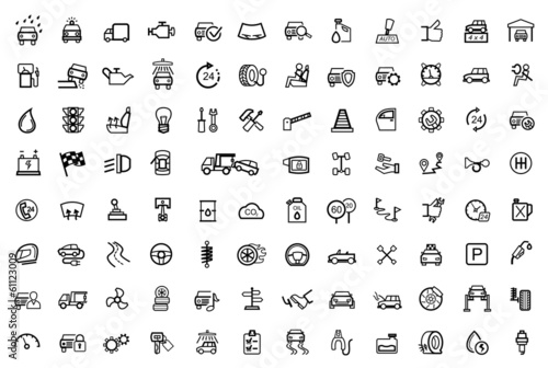 vector black auto icons set - 61123009