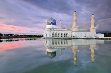 Sunset at Kota Kinabalu Floating Mosque, Sabah Borneo Malaysia