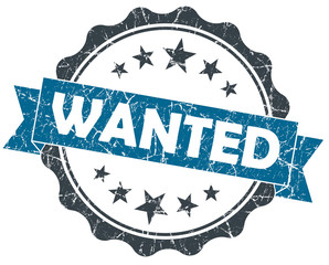 Wanted blue grey grunge vintage retro seal on white