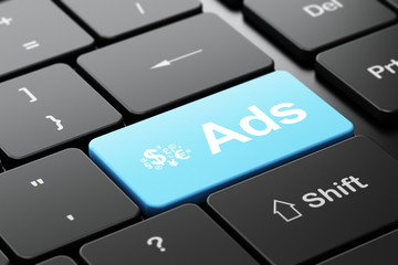 Advertising concept: Finance Symbol and Ads on computer keyboard