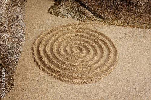 Plexiglas Spiraal Zen Spirale an Felsen