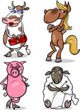 farm animals cartoon humor set