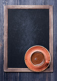 Espresso cup and chalk board