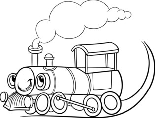 cartoon locomotive or engine coloring page