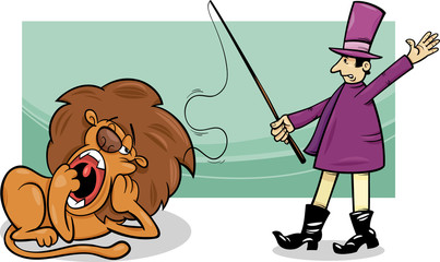 tamer and bored lion cartoon